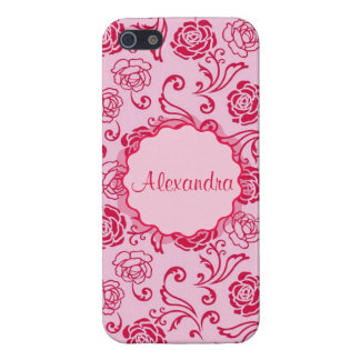 Floral lattice pattern of tea roses on pink name case for iPhone 5/5S