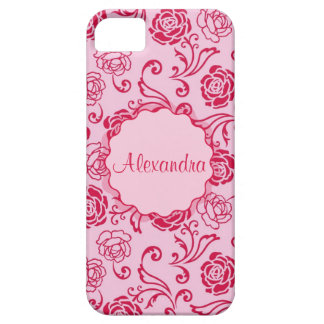 Floral lattice pattern of tea roses on pink name case for the iPhone 5