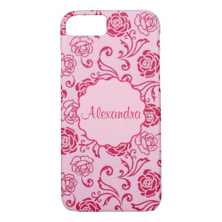 Floral lattice pattern of tea roses on pink name Case-Mate iPhone case