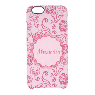 Floral lattice pattern of tea roses on pink name clear iPhone 6/6S case