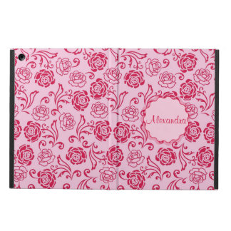 Floral lattice pattern of tea roses on pink name cover for iPad air