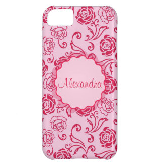 Floral lattice pattern of tea roses on pink name cover for iPhone 5C