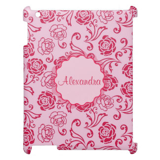 Floral lattice pattern of tea roses on pink name cover for the iPad 2 3 4