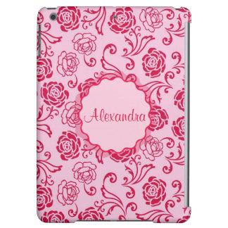 Floral lattice pattern of tea roses on pink name iPad air cover