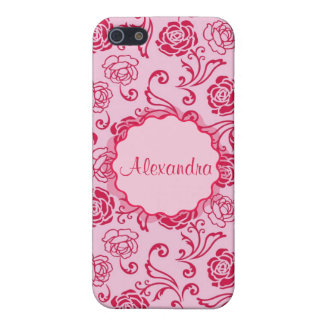 Floral lattice pattern of tea roses on pink name iPhone 5/5S case