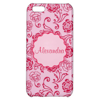 Floral lattice pattern of tea roses on pink name iPhone 5C cover