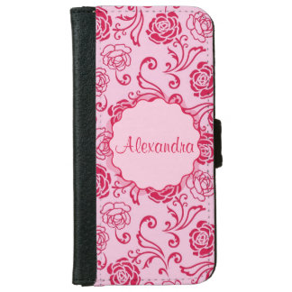 Floral lattice pattern of tea roses on pink name iPhone 6 wallet case