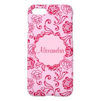 Floral lattice pattern of tea roses on pink name iPhone 7 case