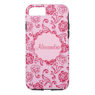Floral lattice pattern of tea roses on pink name iPhone 8/7 case