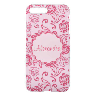 Floral lattice pattern of tea roses on pink name iPhone 8 plus/7 plus case