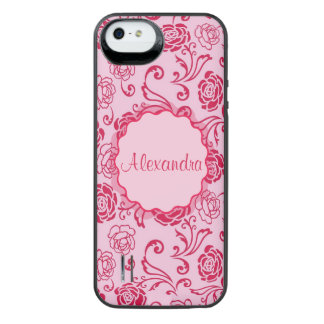 Floral lattice pattern of tea roses on pink name iPhone SE/5/5s battery case