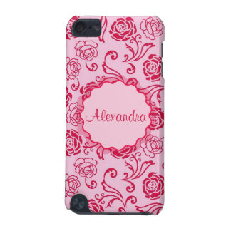 Floral lattice pattern of tea roses on pink name iPod touch (5th generation) cover