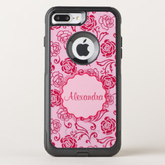 Floral lattice pattern of tea roses on pink name OtterBox commuter iPhone 8 plus/7 plus case
