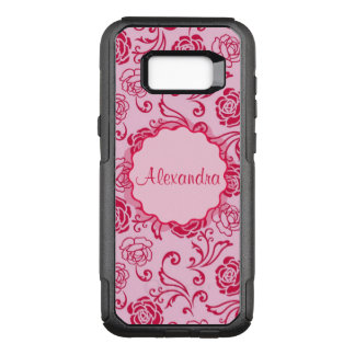 Floral lattice pattern of tea roses on pink name OtterBox commuter samsung galaxy s8+ case