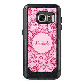 Floral lattice pattern of tea roses on pink name OtterBox samsung galaxy s7 case
