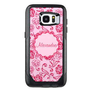 Floral lattice pattern of tea roses on pink name OtterBox samsung galaxy s7 edge case