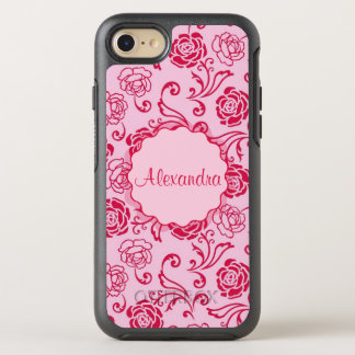 Floral lattice pattern of tea roses on pink name OtterBox symmetry iPhone 8/7 case