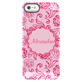 Floral lattice pattern of tea roses on pink name permafrost® iPhone SE/5/5s case