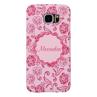 Floral lattice pattern of tea roses on pink name samsung galaxy s6 cases