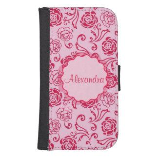 Floral lattice pattern of tea roses on pink name samsung s4 wallet case