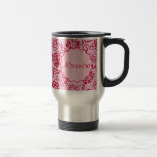 Floral lattice pattern of tea roses on pink name travel mug