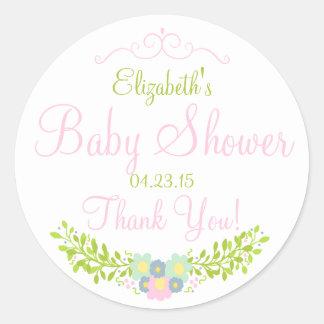 Floral Laurel-Baby Shower Round Sticker