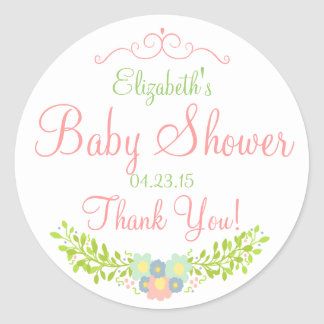 Floral Laurel Peach and Green Shower Classic Round Sticker