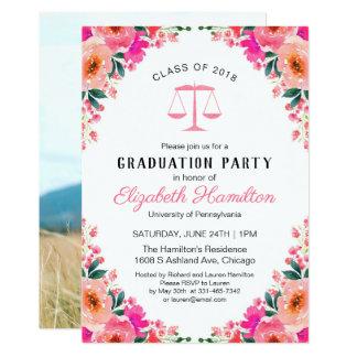 Floral Law School Graduation Party Photo Card