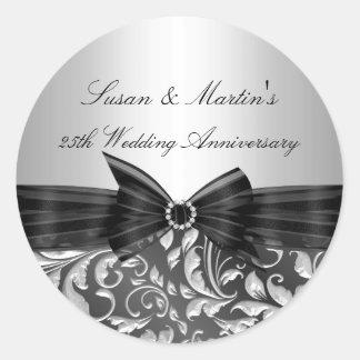 Floral Leaf 25th Wedding Anniversary Sticker