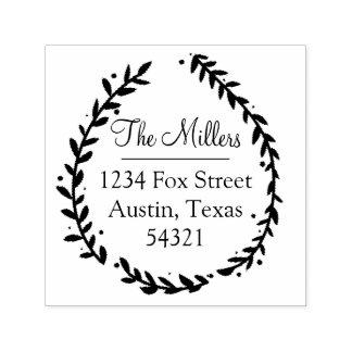 Floral Leaf Address Stamp
