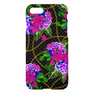 Floral Leaf and Chain Design iPhone7 Glossy Case