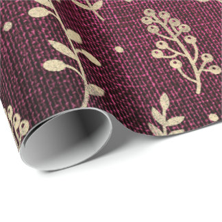 Floral Leafs Metallic Burgundy Red Gold Linen Wrapping Paper