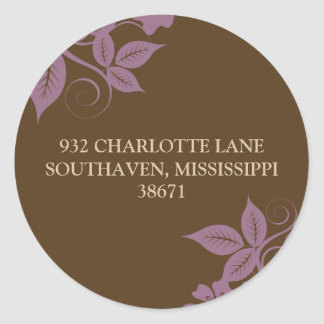 Floral & Leaves Return Address (brown/lilac) Classic Round Sticker