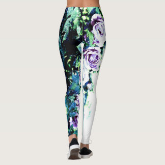 Floral leggings with blue, green, lilac version II