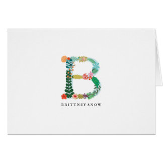 Floral Letter Monogram Initial - B - Folded Card
