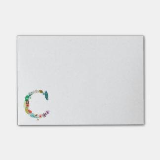Floral Letter Monogram Initial - C Post-it Notes