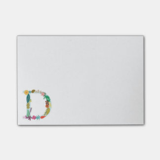 Floral Letter Monogram Initial - D - Post-it Notes