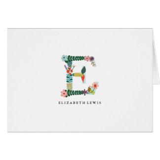 Floral Letter Monogram Initial - E - Folded Card