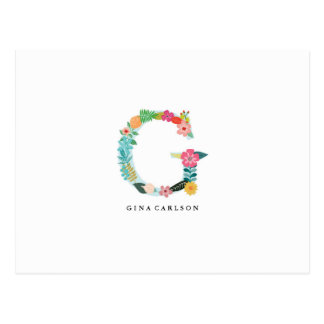 Floral Letter Monogram Initial - G - Flat Card