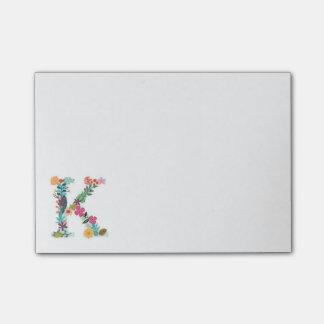 Floral Letter Monogram Initial - K - Post-it Notes