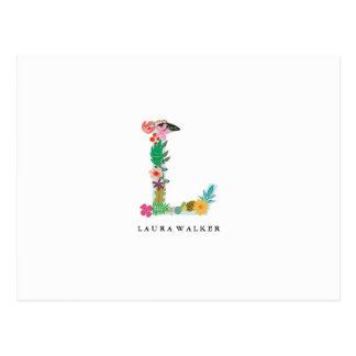 Floral Letter Monogram Initial - L - Flat Card