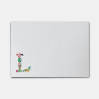 Floral Letter Monogram Initial - L - Post-it Notes
