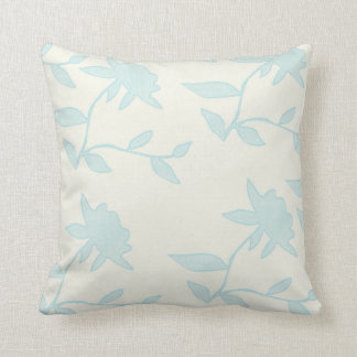 Floral | Light Blue Stamped Flowers Throw Pillow