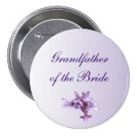 Floral Lilac Flowers Wedding Grandfather of Bride 3 Inch Round Button