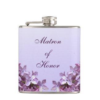Floral Lilac Flowers Wedding Matron of Honor Hip Flask