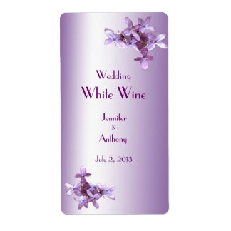Floral Lilac Flowers Wedding White Wine Label