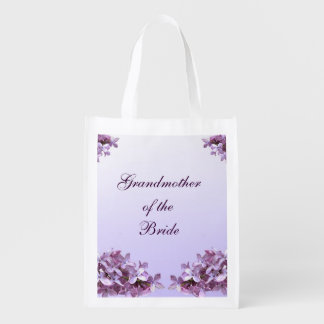 Floral Lilac Wedding Grandmother of Bride Reusable Grocery Bag