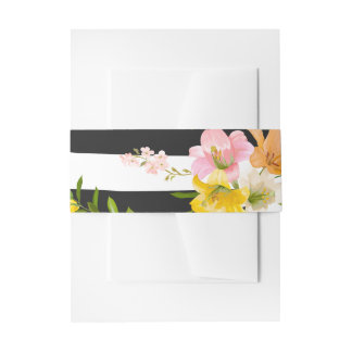 Floral Lily Flower Pink Yellow Black White Stripes Invitation Belly Band