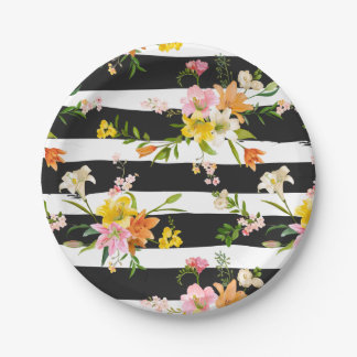 Floral Lily Flowers Black And White Stripes Pink Paper Plate