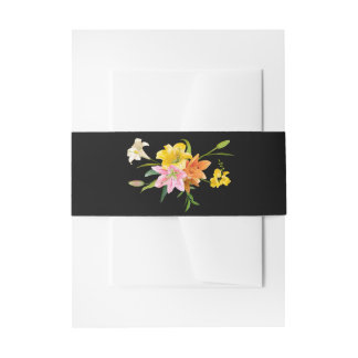Floral Lily Flowers Pink Orange Black Wedding Invitation Belly Band